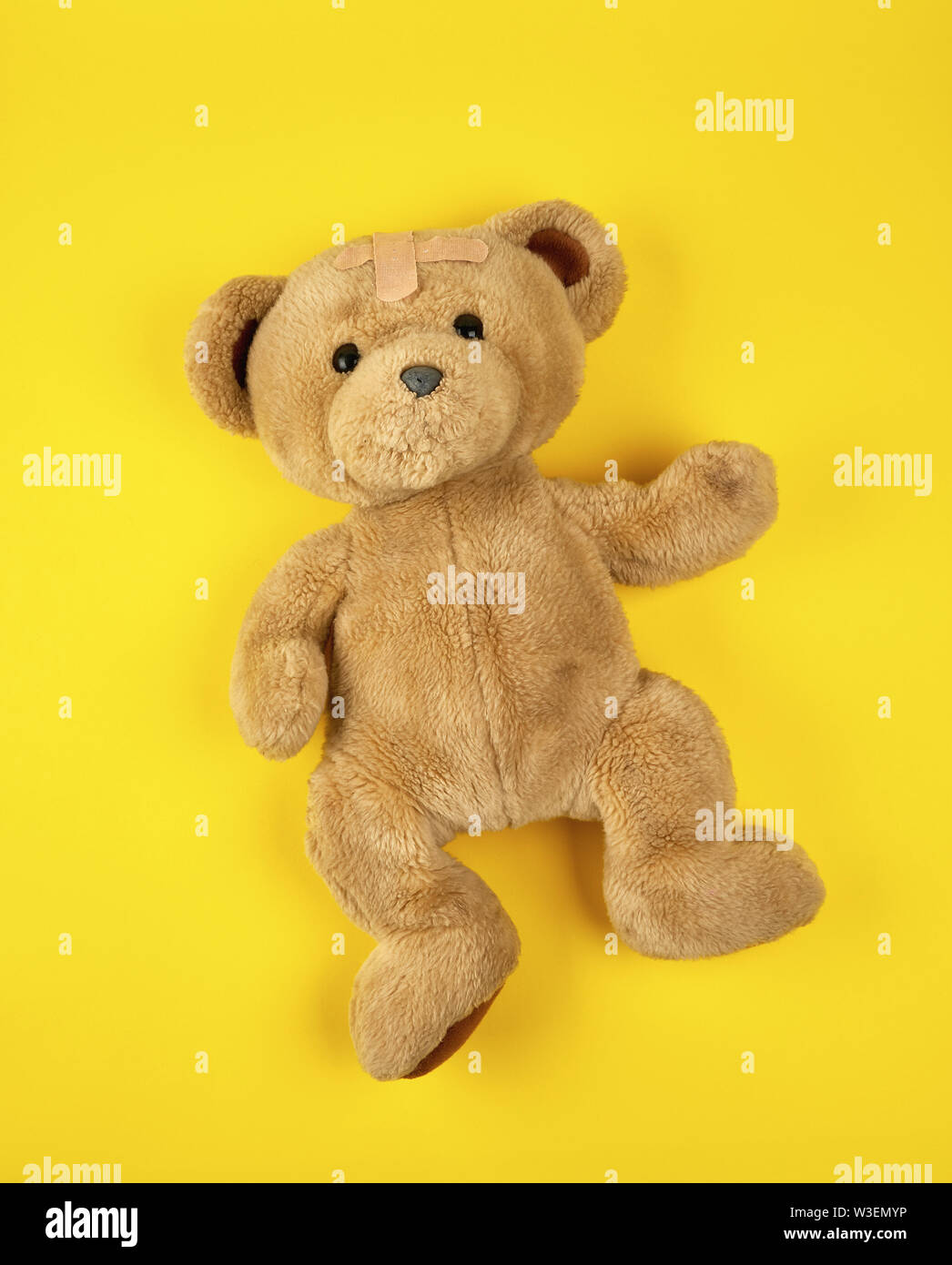 brown teddy bear on a yellow background, top view - Stock Image