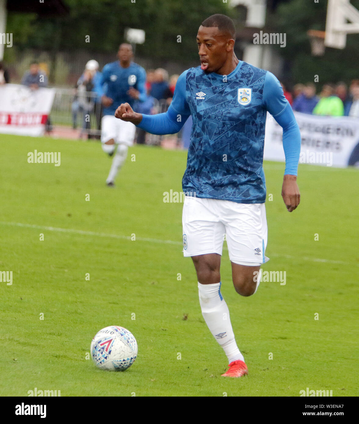 Kitzbuehel, Austria. 13th July, 2019. Rajiv van PARRA (Huddersfield).pre season friendly 2019/20, .Huddersfield Town FC vs Hamburger SV.Stadion Kitzbuehel/Austria, July 13, 2019, .Huddersfield Town, the relegated team of the Premiere League wins in a pre season friendly against the former German champion Hamburger SV. Credit: Wolfgang Fehrmann/ZUMA Wire/Alamy Live News - Stock Image