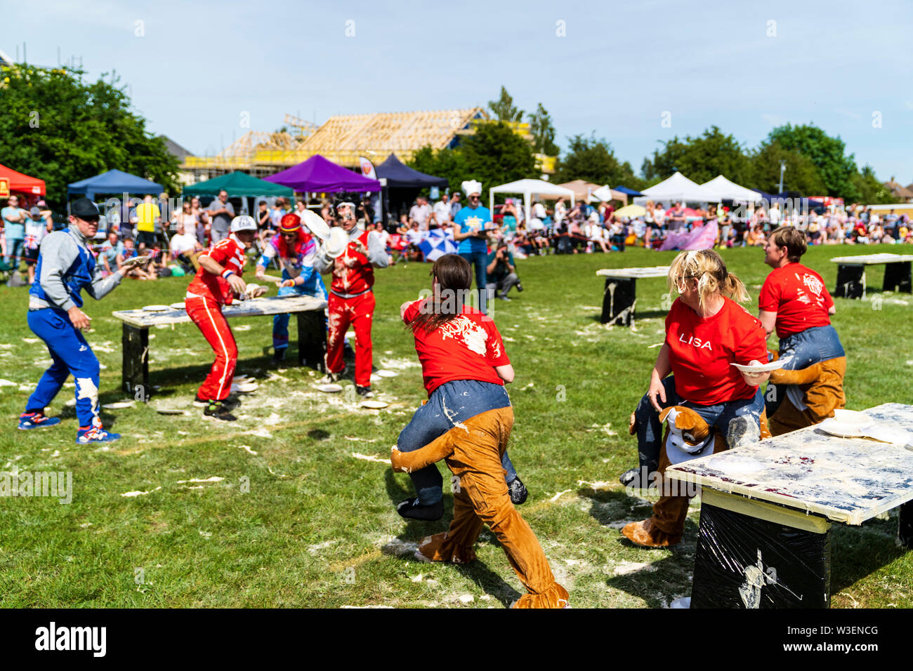 Coxheath, England. 1st June 2019. World Custard Pie Championships now in its 52nd year hosted by Mike Fitzgerald OBE. 30 teams, including some from Fr - Stock Image