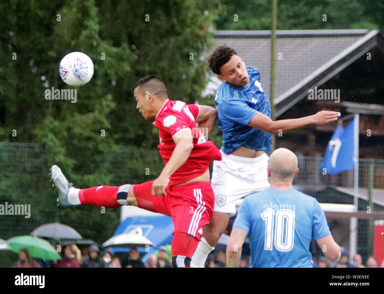July 13, 2019 - Kitzbuehel, Austria - in the middle Rarmandi GREEN (Huddersfield), .pre season friendly 2019/20, .Huddersfield Town FC vs Hamburger SV,.Stadion Kitzbuehel/Austria, July 13, 2019, .Huddersfield Town, the relegated team of the Premiere League wins in a pre season friendly against the former German champion Hamburger SV. (Credit Image: © Wolfgang Fehrmann/ZUMA Wire) - Stock Image