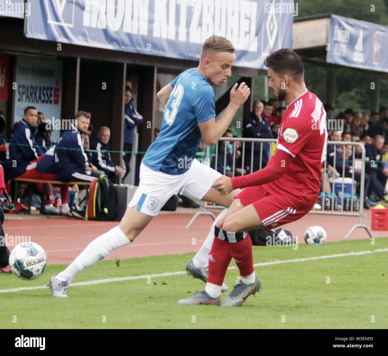 July 13, 2019 - Kitzbuehel, Austria - fromright Khaled NAREY (Hamburg), Florent HADERGJONAJ  ( Huddersfield).pre season friendly 2019/20, .Huddersfield Town FC vs Hamburger SV,.Stadion Kitzbuehel/Austria, July 13, 2019, .Huddersfield Town, the relegated team of the Premiere League wins in a pre season friendly against the former German champion Hamburger SV (Credit Image: © Wolfgang Fehrmann/ZUMA Wire) - Stock Image