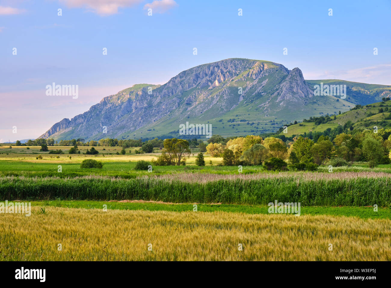 Coltii Trascaului (left) and Piatra Secuiului (right), part of Trascau mountains (Carpathians) - wide view in the warm evening sunlight. - Stock Image