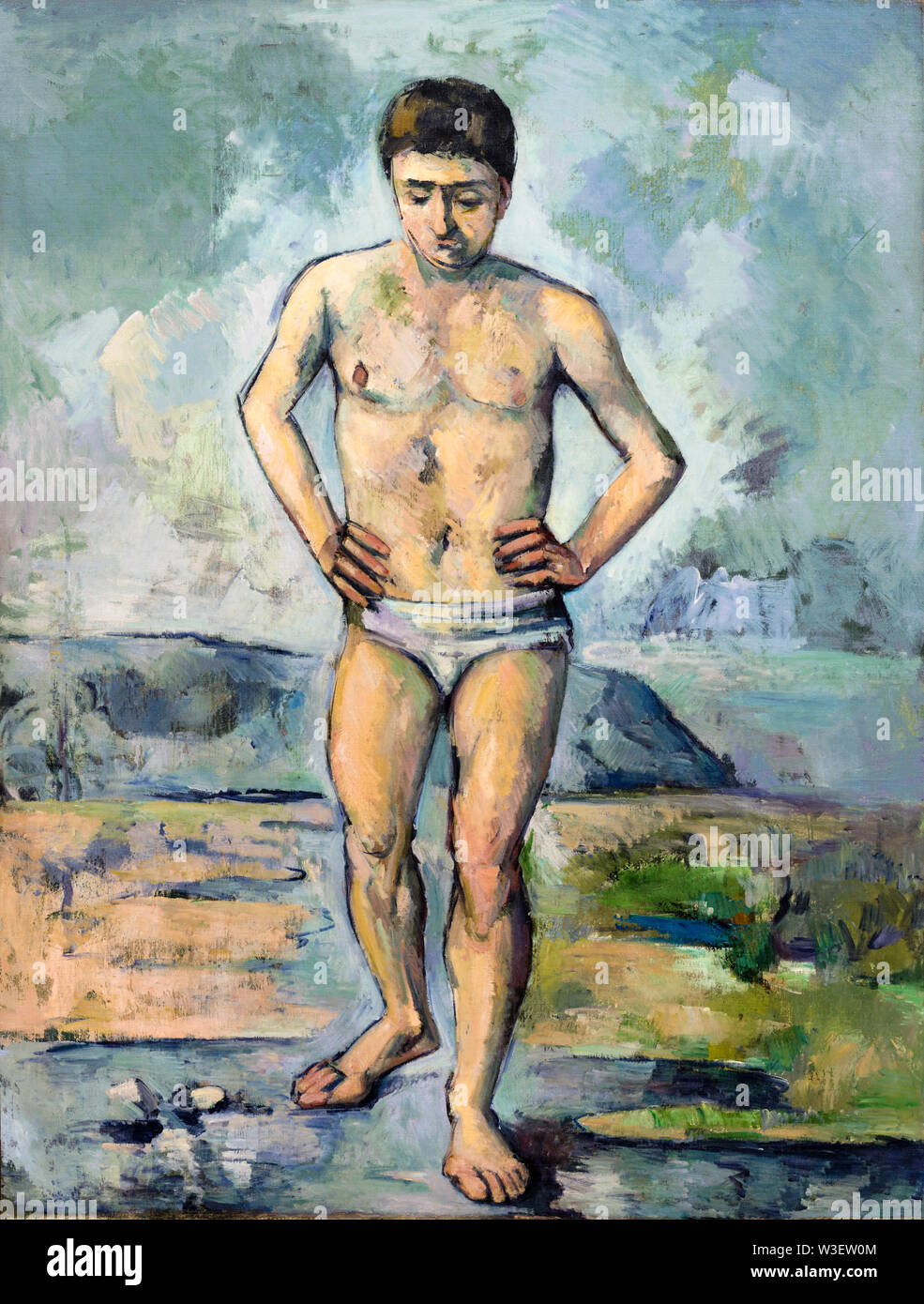 Paul Cézanne, The Bather, painting, 1885 - Stock Image