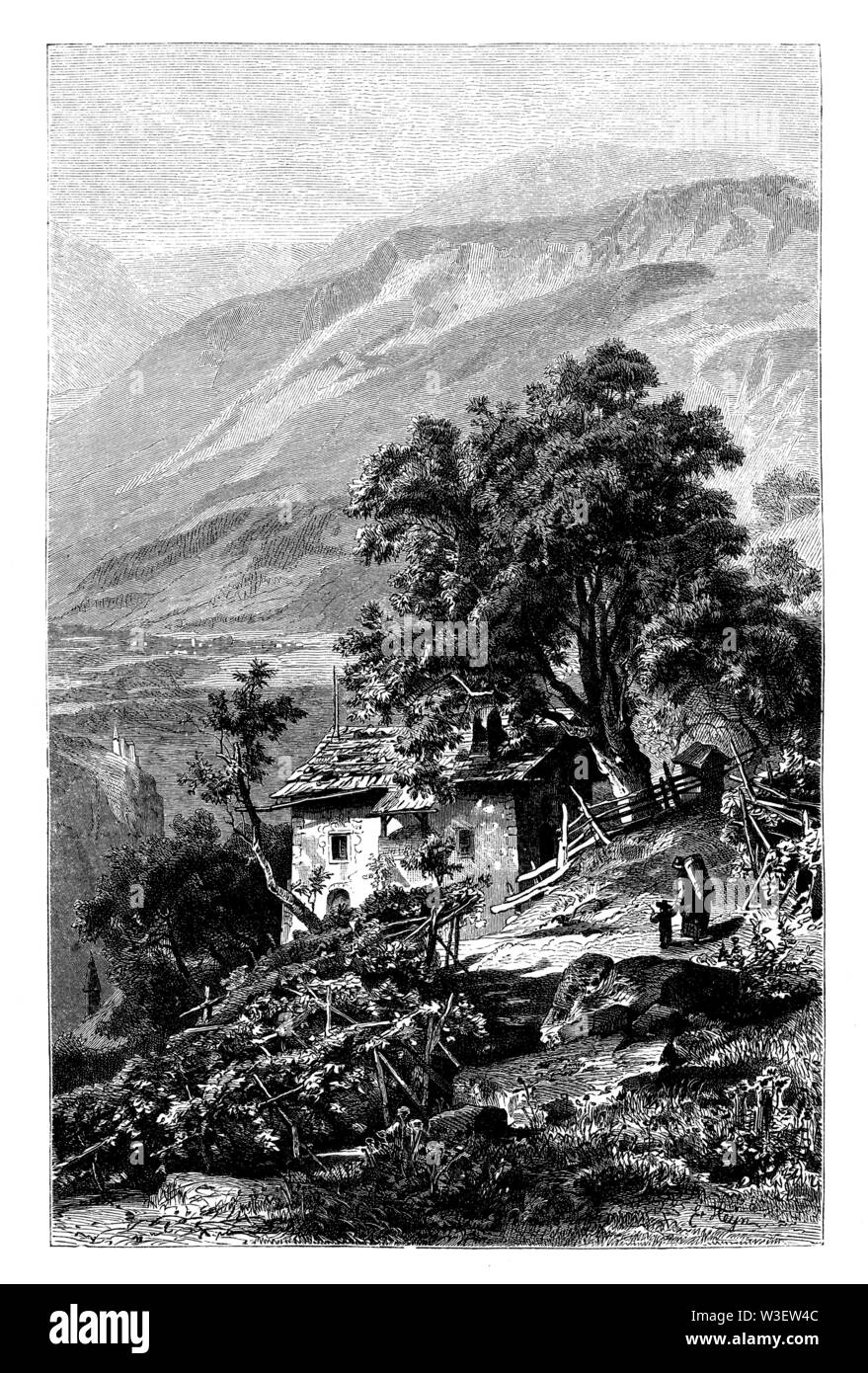 The Vogelweidhof near Bolzano. Presumed home of Walther from the bird pasture, , Ernst Heyn (literary history book, 1881) - Stock Image
