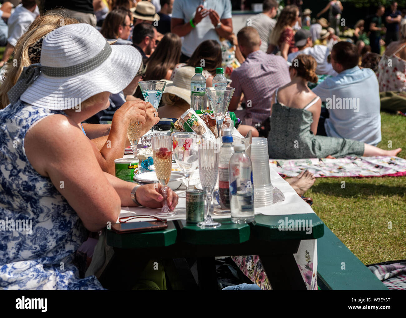 picnickers drinking champagne with strawberries on henman hill / murray mount 2019 wimbledon championship Stock Photo