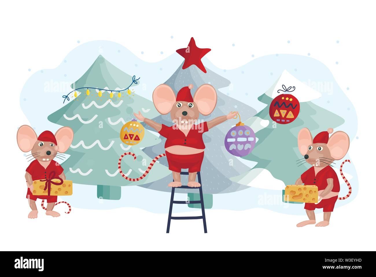 Christmas vector mouse. Cartoon illustration. - Stock Image