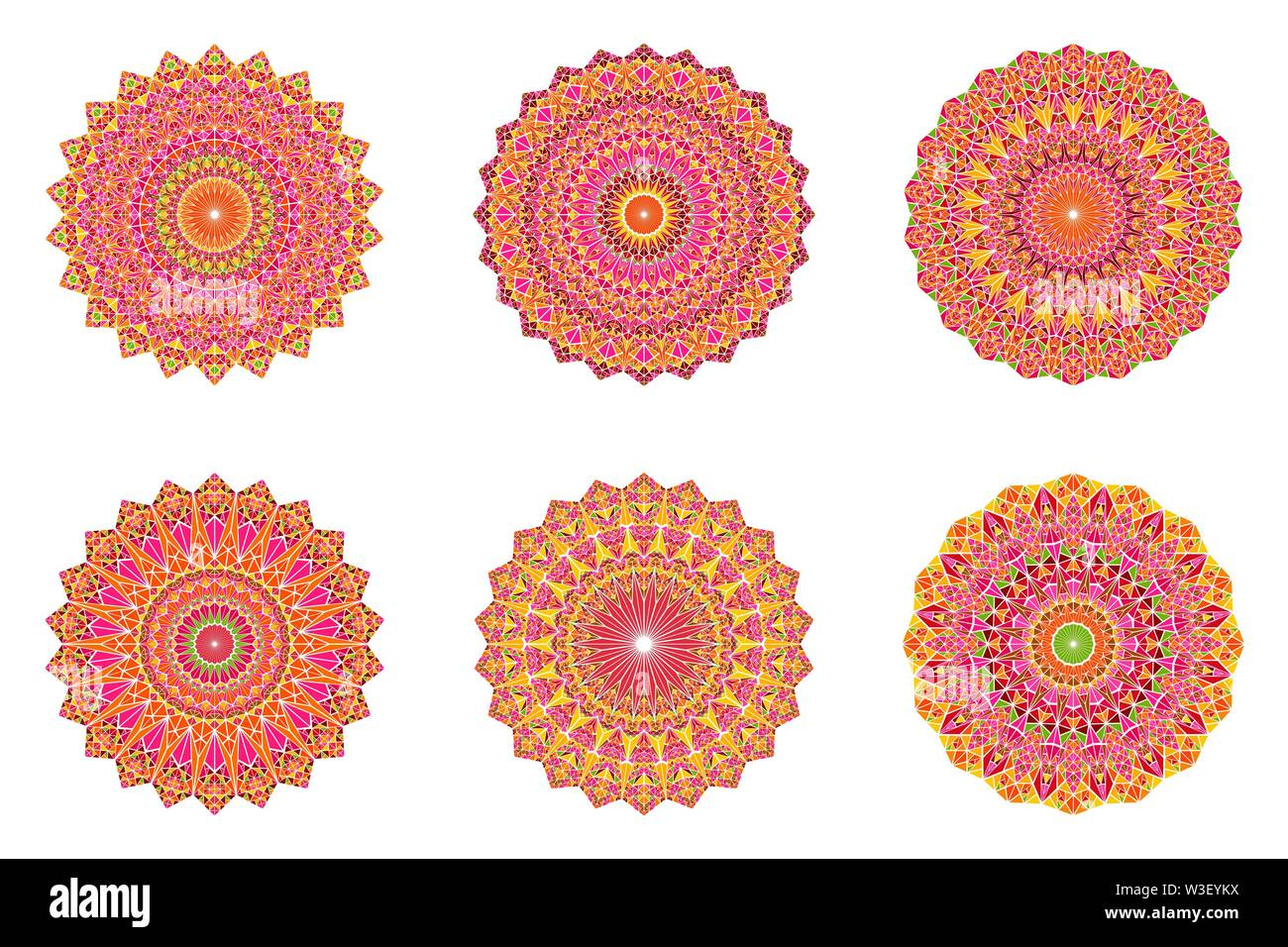 Ornate geometrical triangle mosaic mandala set - circular polygonal abstract round vector graphic on background - Stock Image