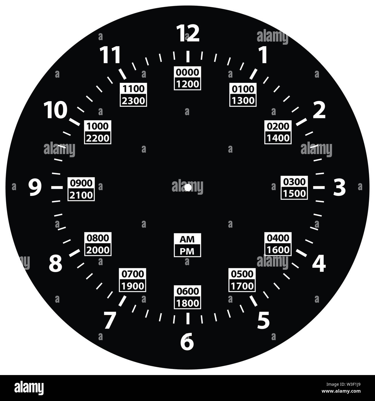 30 Hour Military Time and Standard Time Combo Clock, Black ...