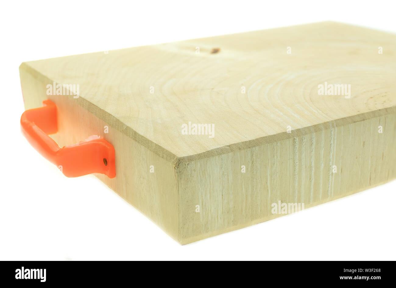 Tamarind wood butcher block countertop on white background - Stock Image