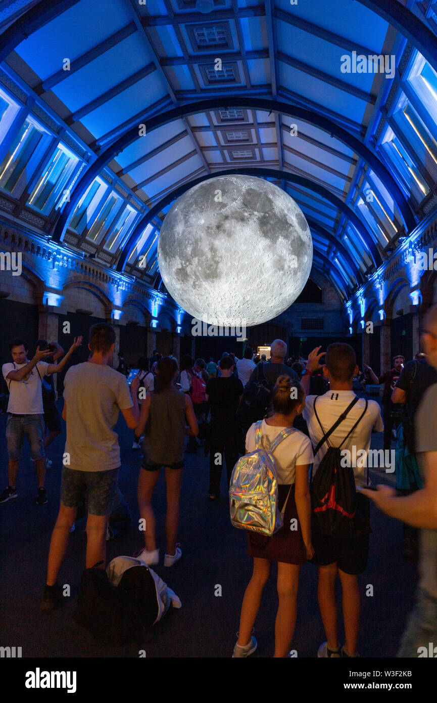 Museum of the Moon - Exhibition of a model of the moon by artist Luke Jerram; Natural History Museum, London UK - Stock Image