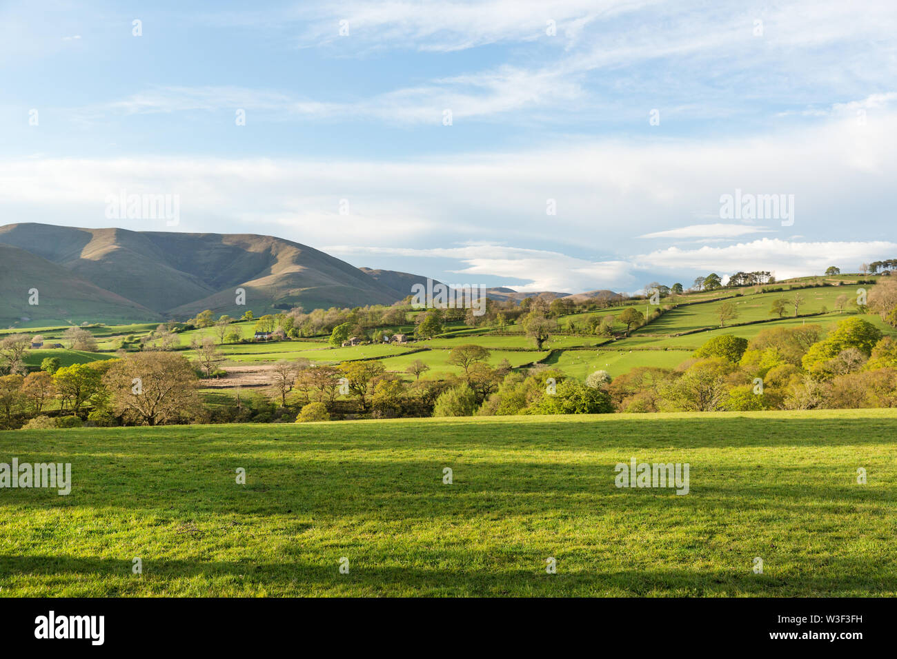 View of the Howgill Fells in the Yorkshire Dales National Park on a sunny day. Stock Photo