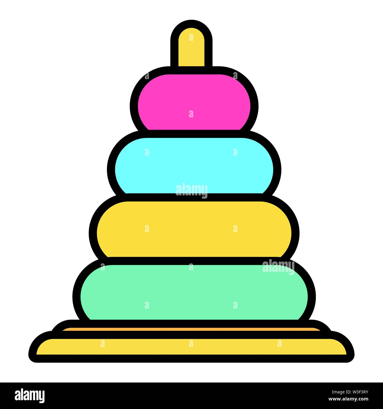 colors rings pyramid toy icon vector illustration design - Stock Image