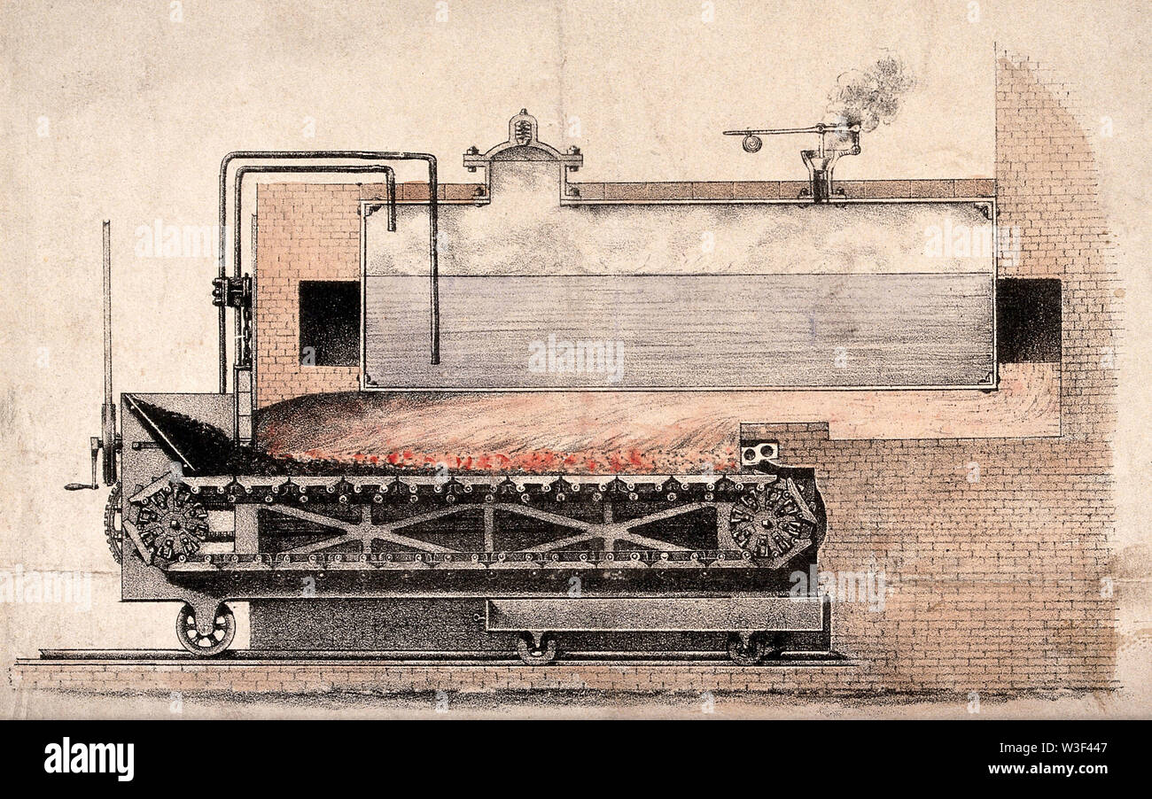 Engineering  a patent furnace with continuous solid-fuel feed. Coloured lithograph. - Stock Image