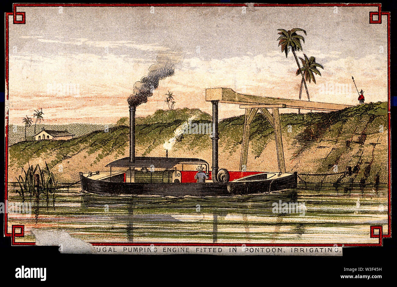 Engineering  a portable pumping engine, used in Egypt. Coloured lithograph, [post 1875]. - Stock Image