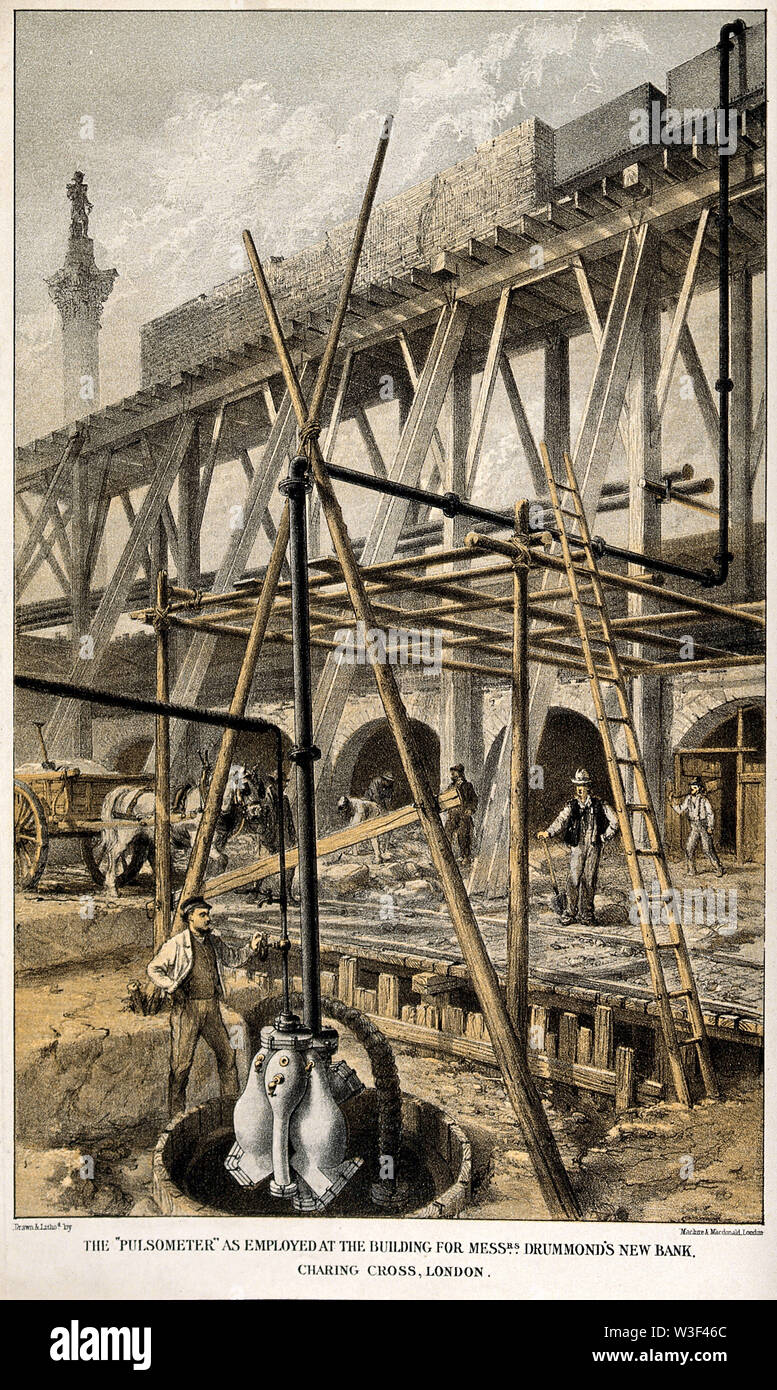 Engineering  a steam-driven pump in use on a building site in Spring Gardens, Charing Cross. Coloured lithograph by Maclure and Macdonald, 1879. - Stock Image