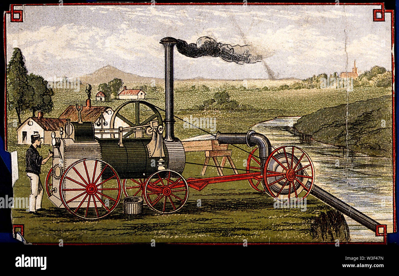 Engineering a steam engine, with a pump irrigating fields. Coloured lithograph, [post 1875]. - Stock Image