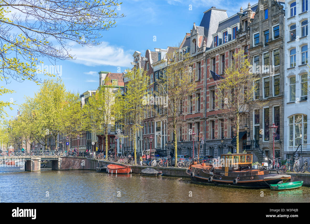 Springtime in Amsterdam. Canals-grachts - Stock Image