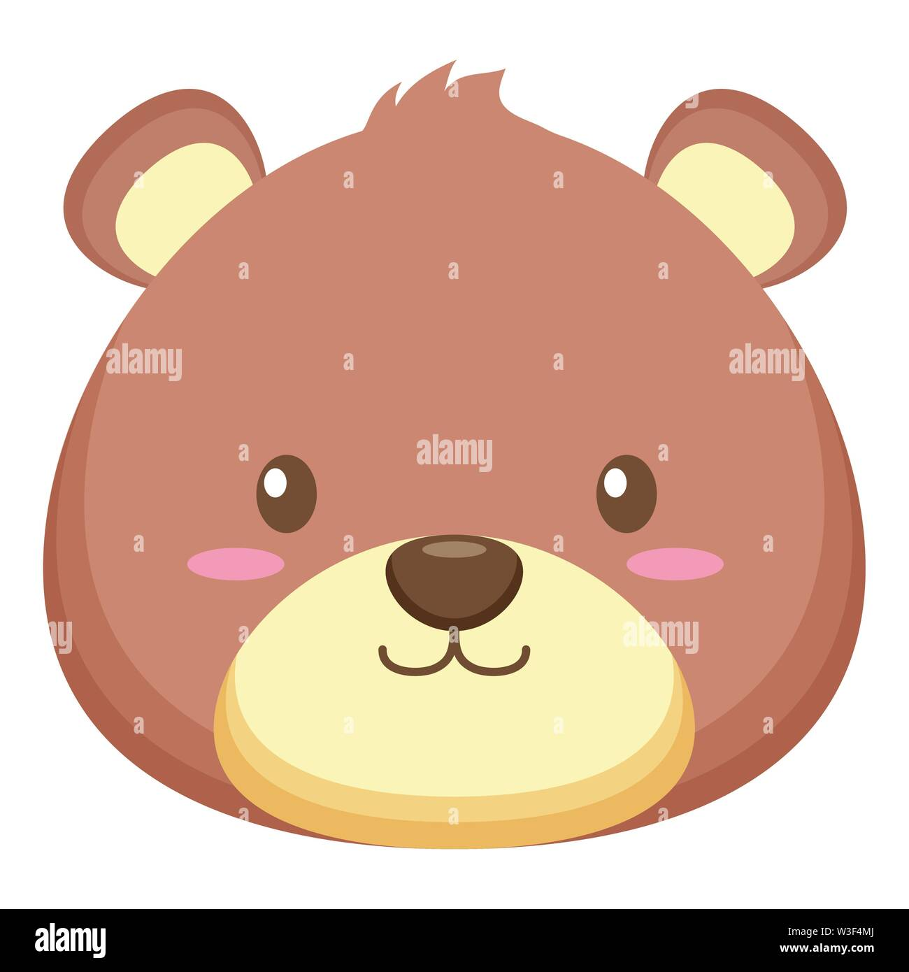 toy bear face on white background vector illustration - Stock Image