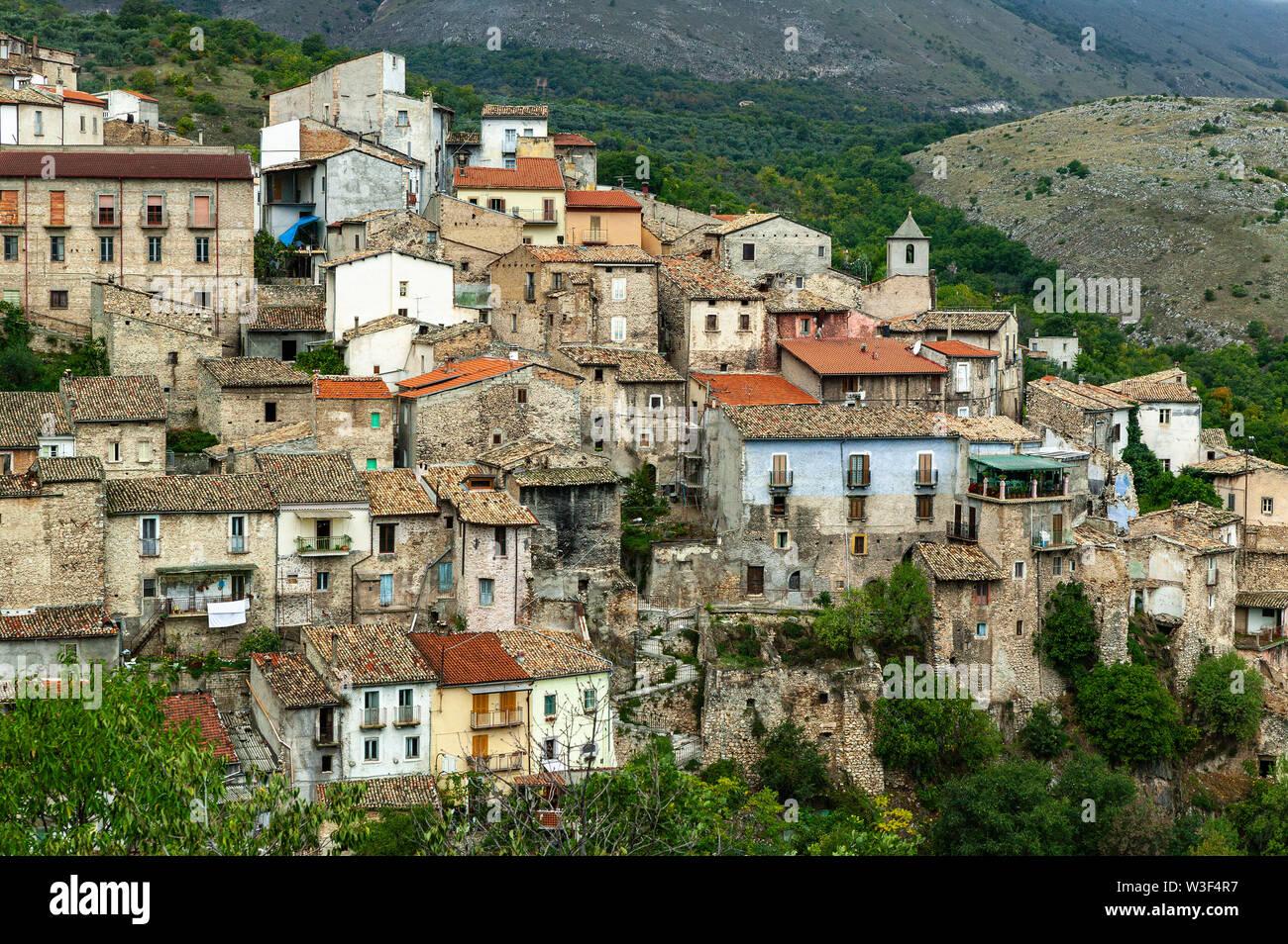small hillside village of Prezza - Stock Image
