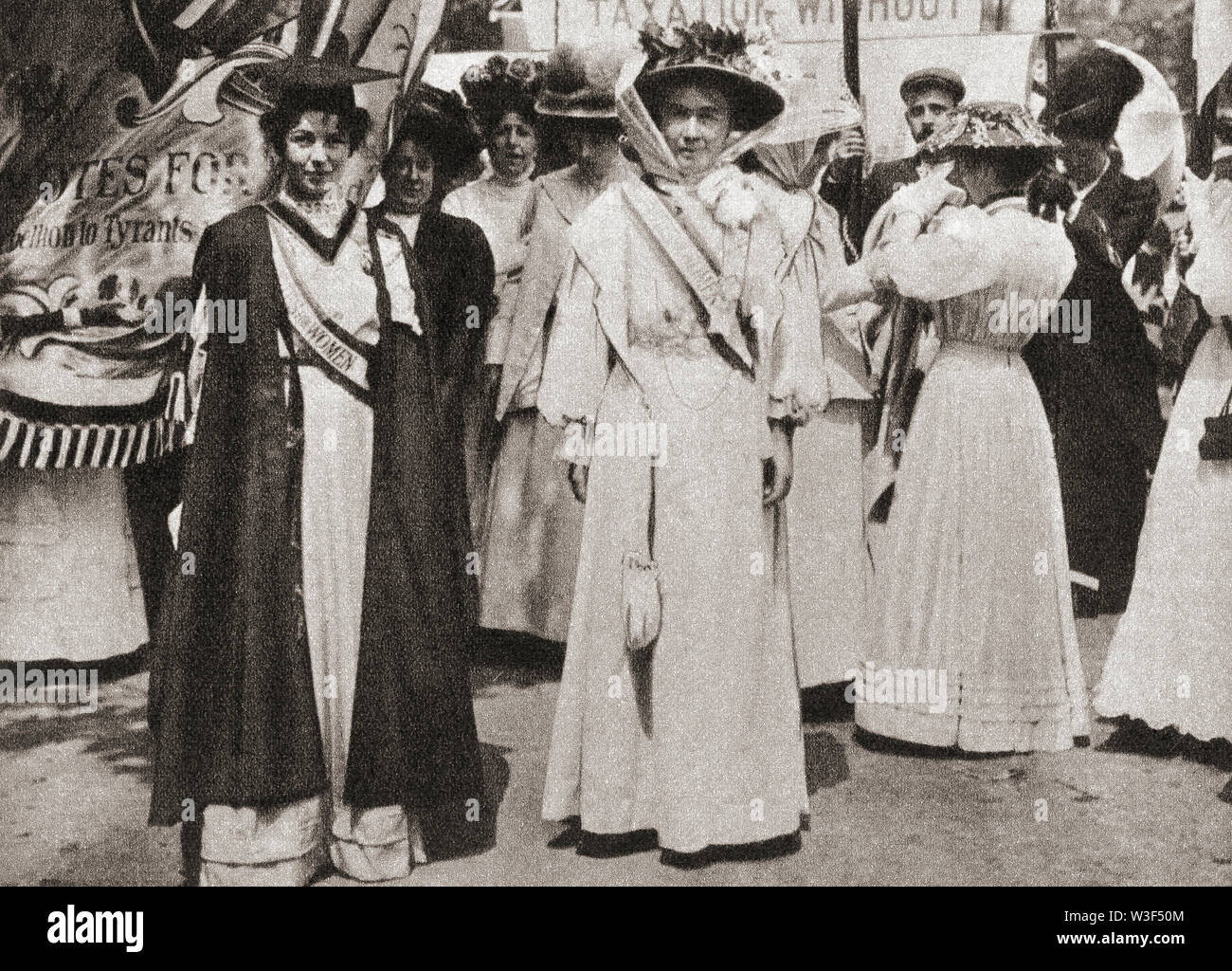 EDITORIAL Lady Emmeline Pethick-Lawrence, 1867 – 1954, left.  British women's rights activist.  Emmeline Pankhurst , née Goulden, 1858 – 1928, right.  British political activist and leader of the British suffragette movement. From The Pageant of the Century, published 1934. Stock Photo