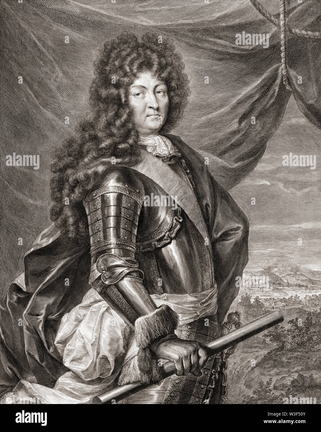 Louis XIV, 1638 – 1715, aka Louis the Great or the Sun King.  King of France.  After a painting by Jean de la Haye. Stock Photo