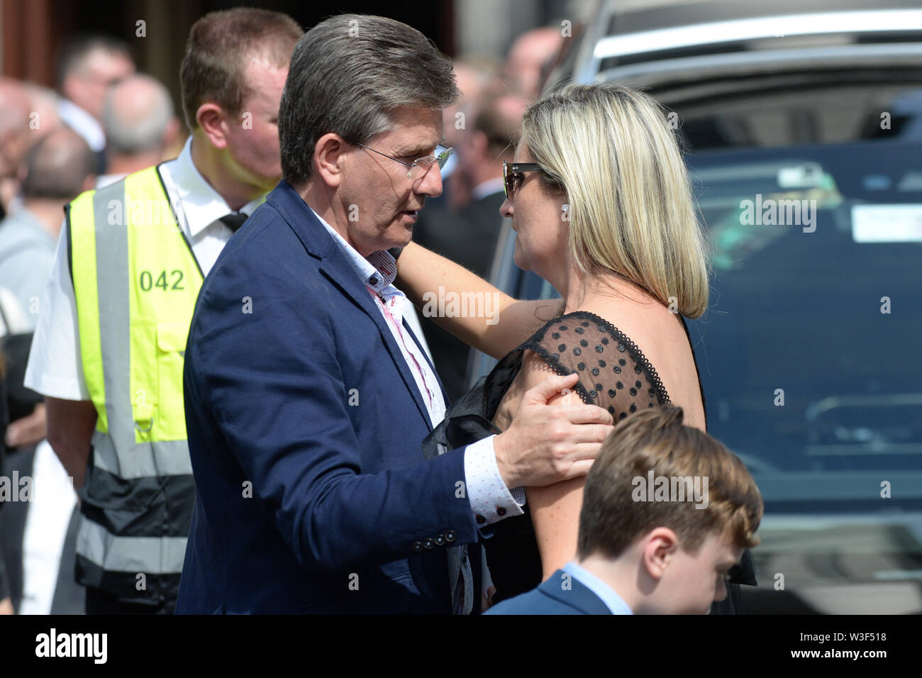 Daniel O'Donnell at the funeral of Father Ted star Brendan Grace at the Church of St. Nicholas of Myra, Dublin. - Stock Image