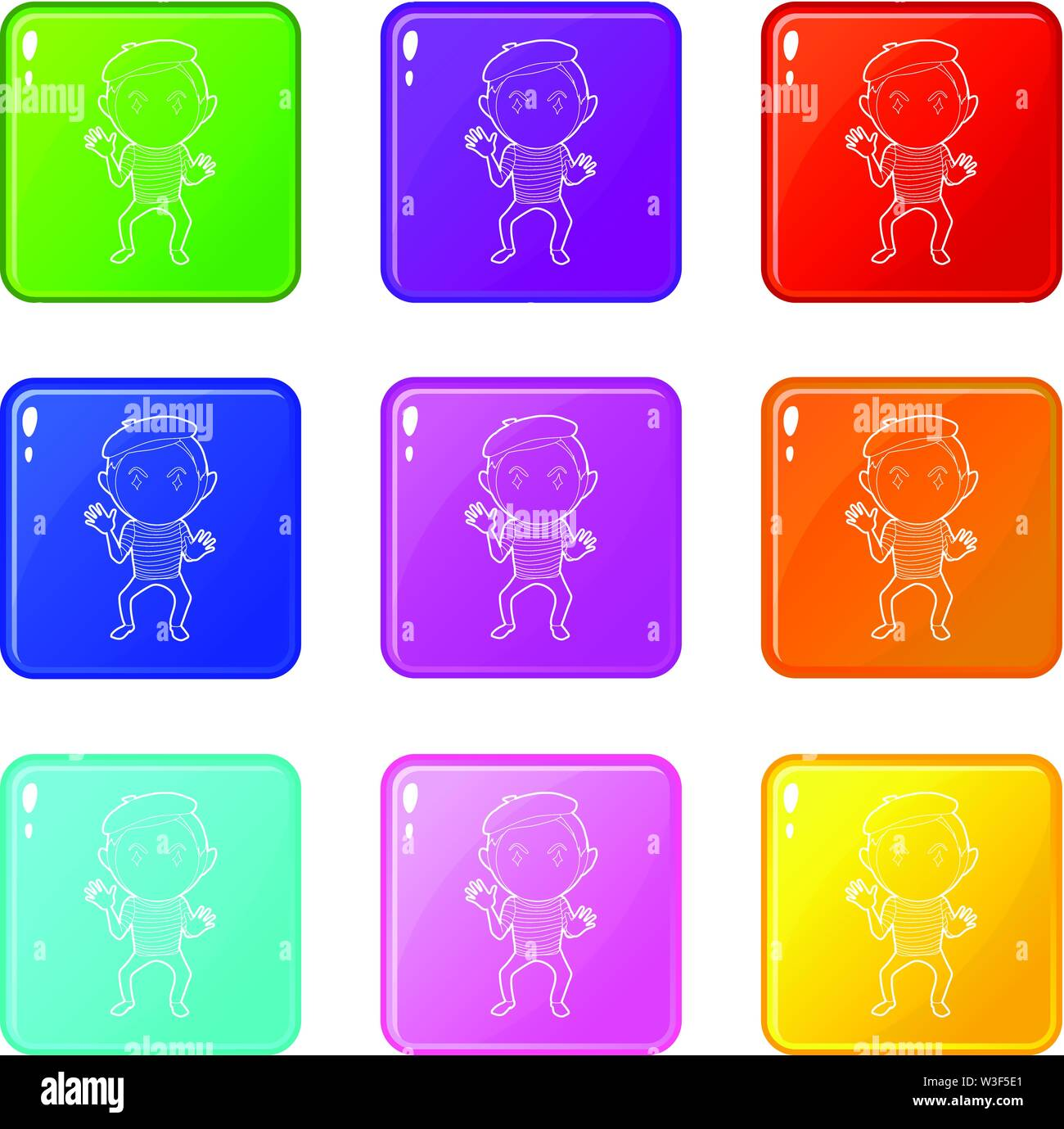 Clown icons set 9 color collection Stock Vector