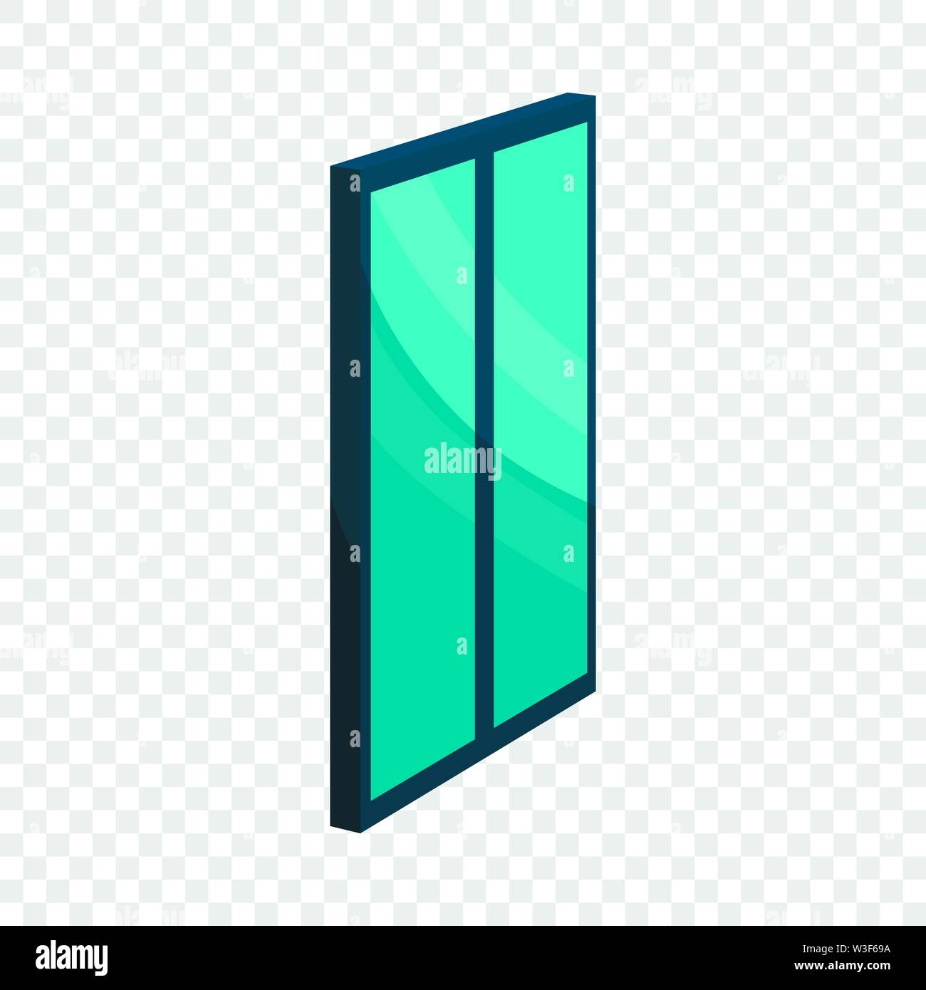 Blue glass door icon, cartoon style Stock Vector