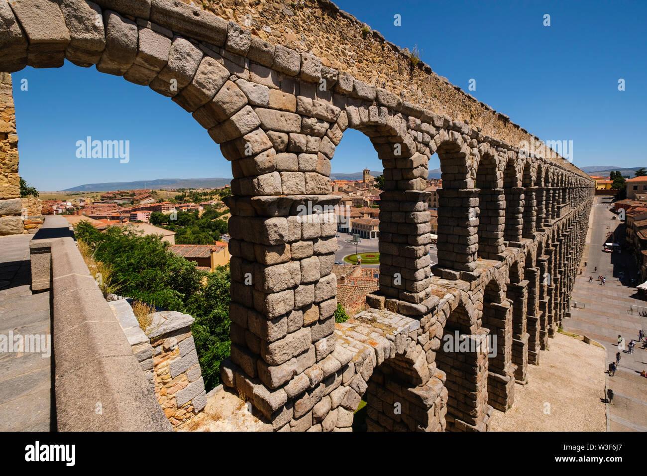 Ancient roman aqueduct, UNESCO World Heritage Site. Segovia city. Castilla León, Spain Europe Stock Photo