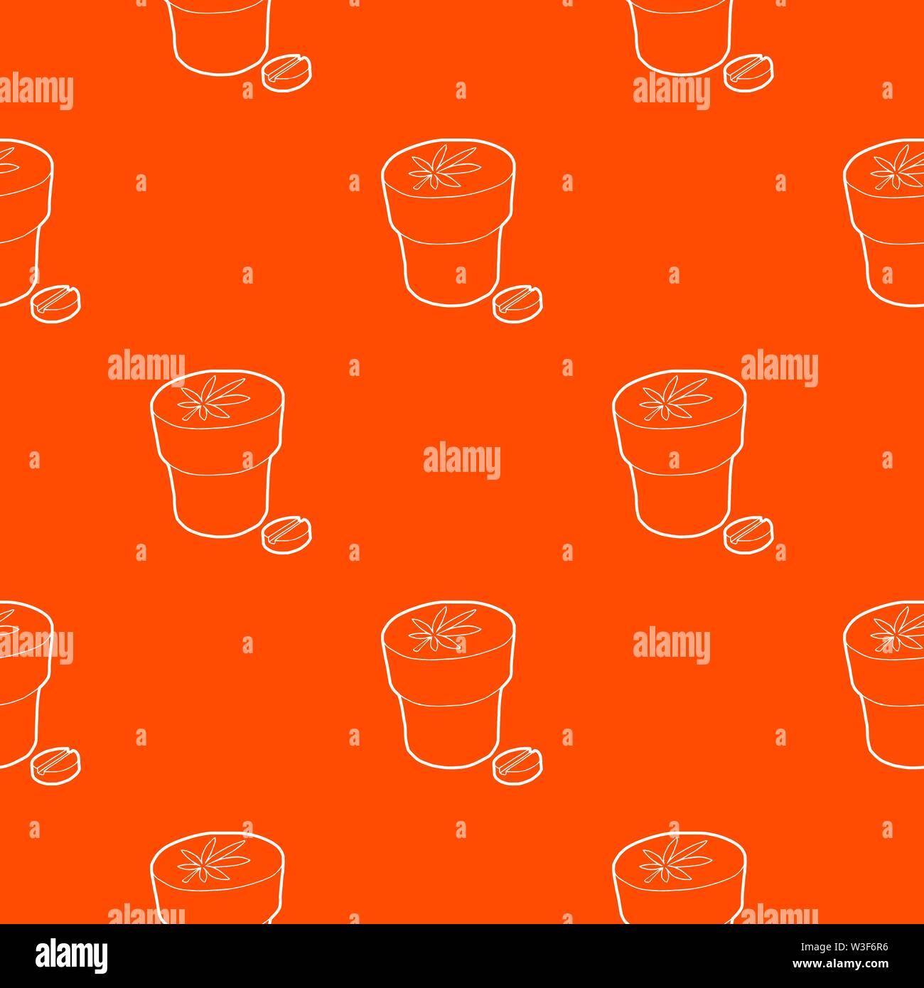 Medical marijuana bottle and tablet pattern vector orange Stock Vector