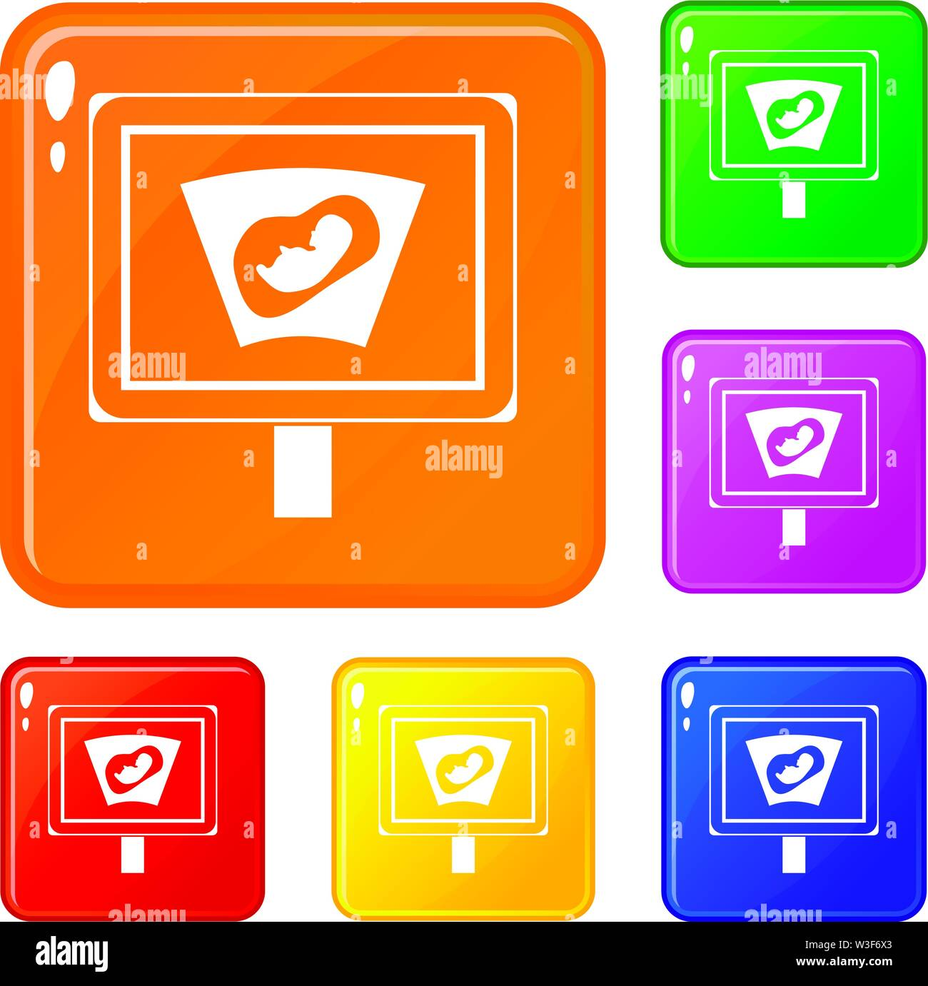 Ultrasound of baby in mother womb icons set vector color Stock Vector