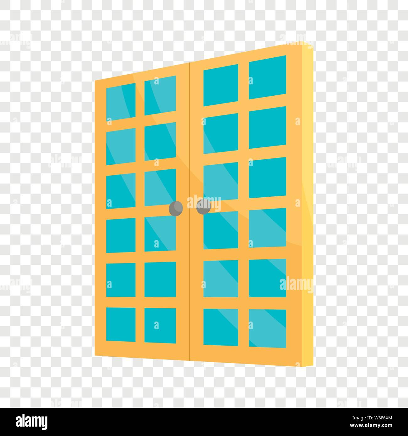 Double room door icon, cartoon style Stock Vector