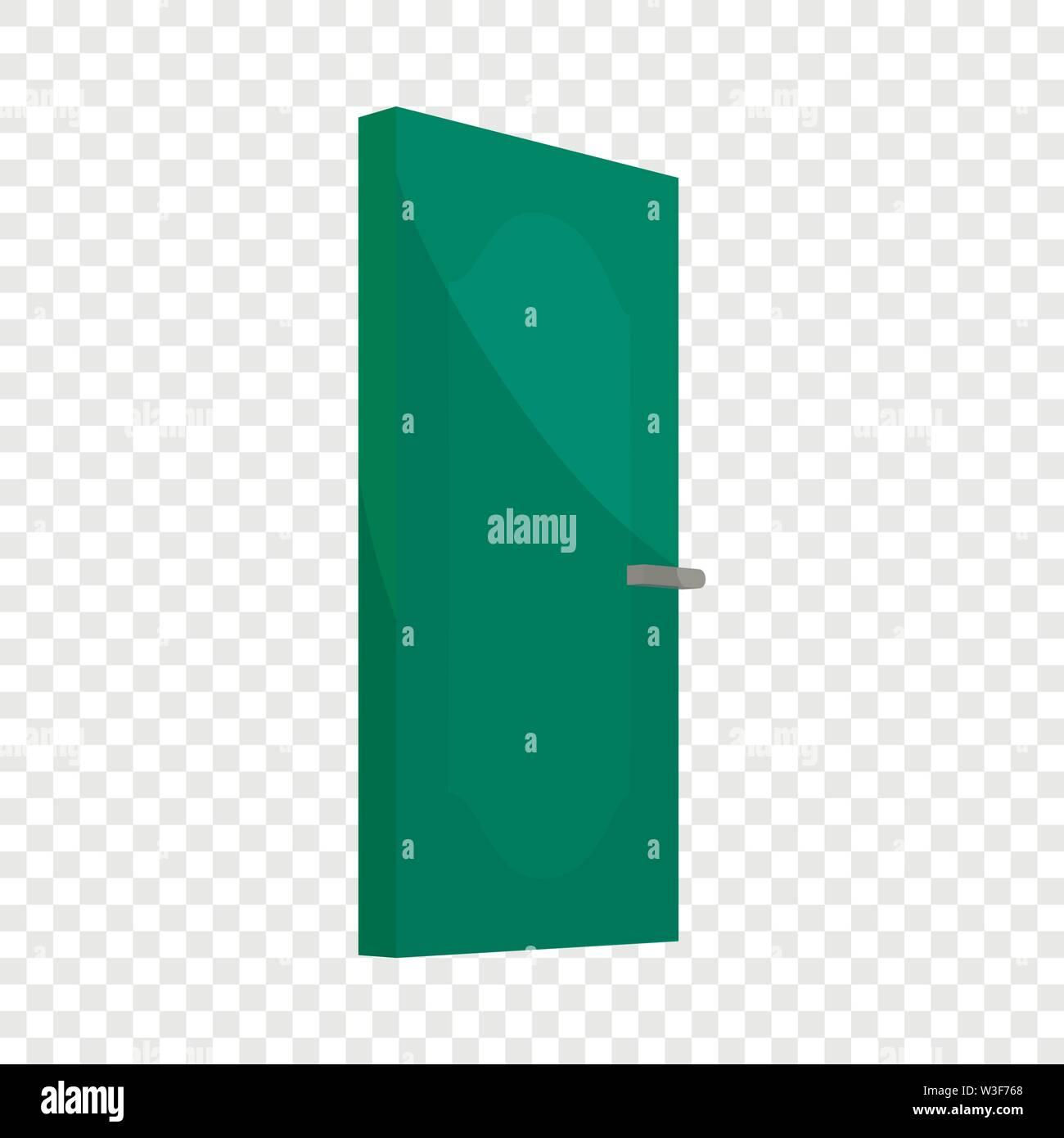 Green cabinet door icon, cartoon style Stock Vector