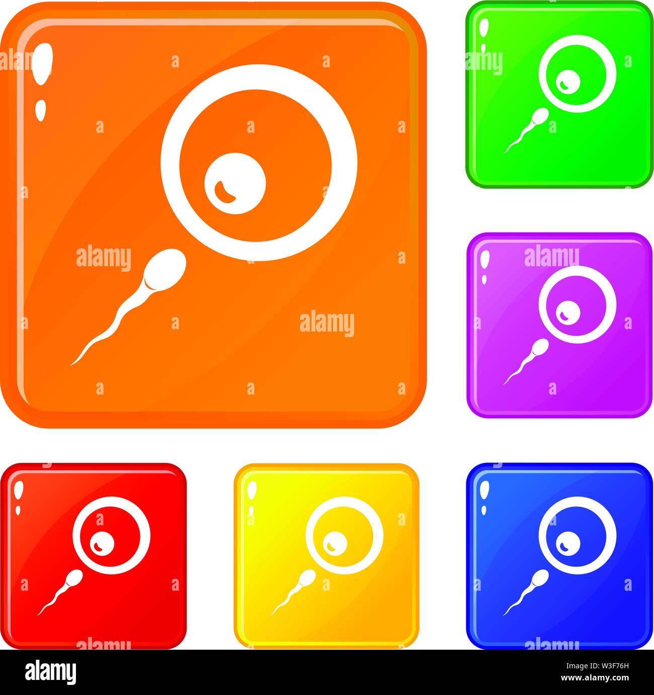 Donor sperm icons set vector color Stock Vector