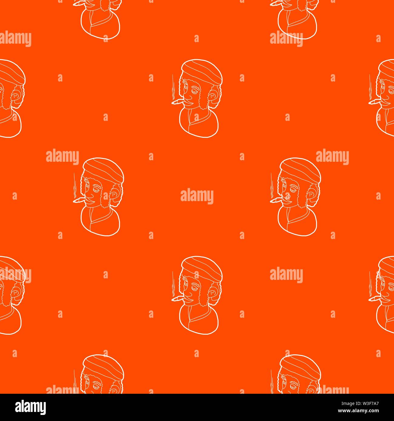 Rastafarian man wearing headband and smoking pattern vector orange Stock Vector