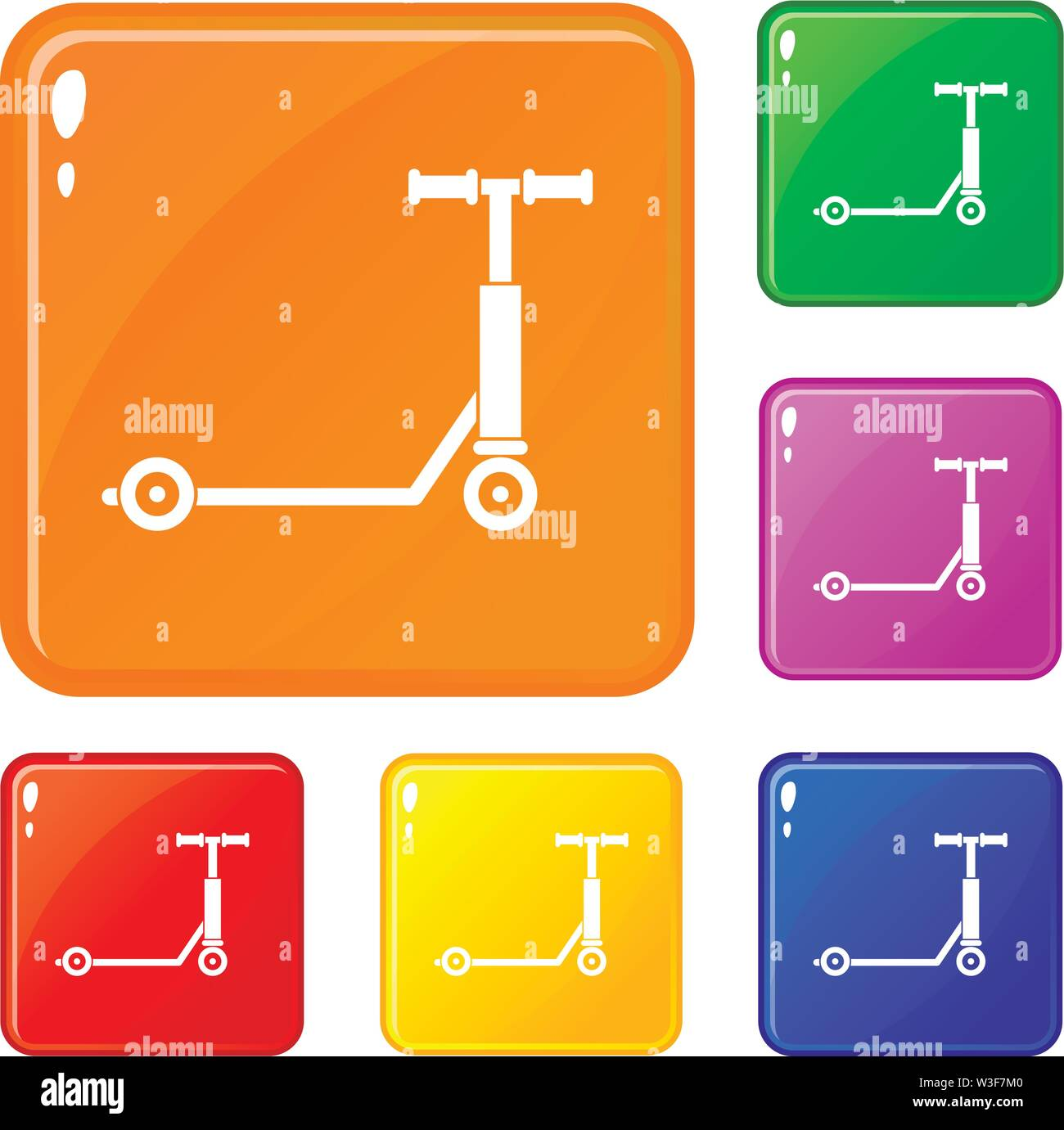 Scooter icons set vector color Stock Vector