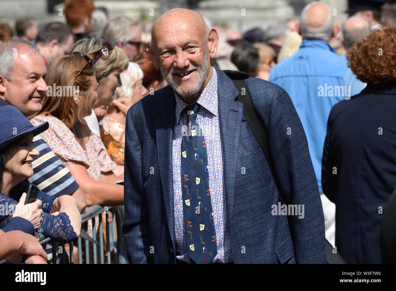 Paddy Cole arrives for the funeral of Father Ted star Brendan Grace at the Church of St. Nicholas of Myra, Dublin. - Stock Image