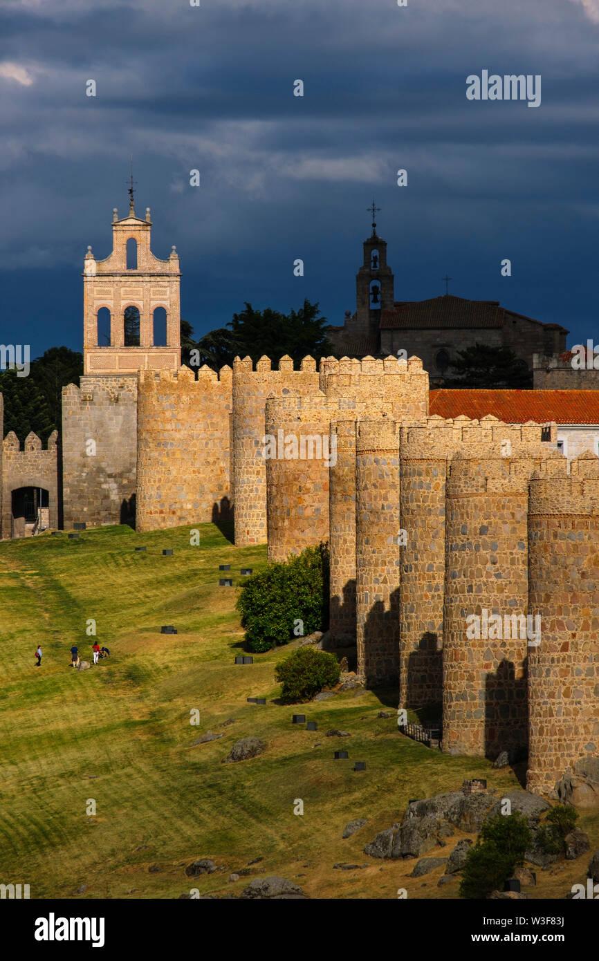 Medieval monumental walls, UNESCO World Heritage Site. Avila city. Castilla León, Spain Europe Stock Photo
