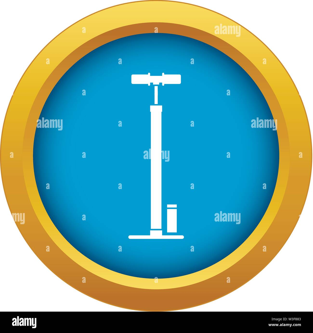 Bicycle pump icon blue vector isolated - Stock Image