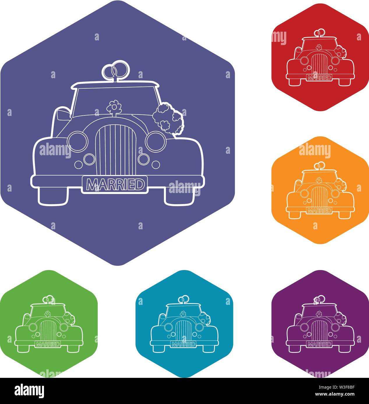 Wedding car icons vector hexahedron - Stock Image