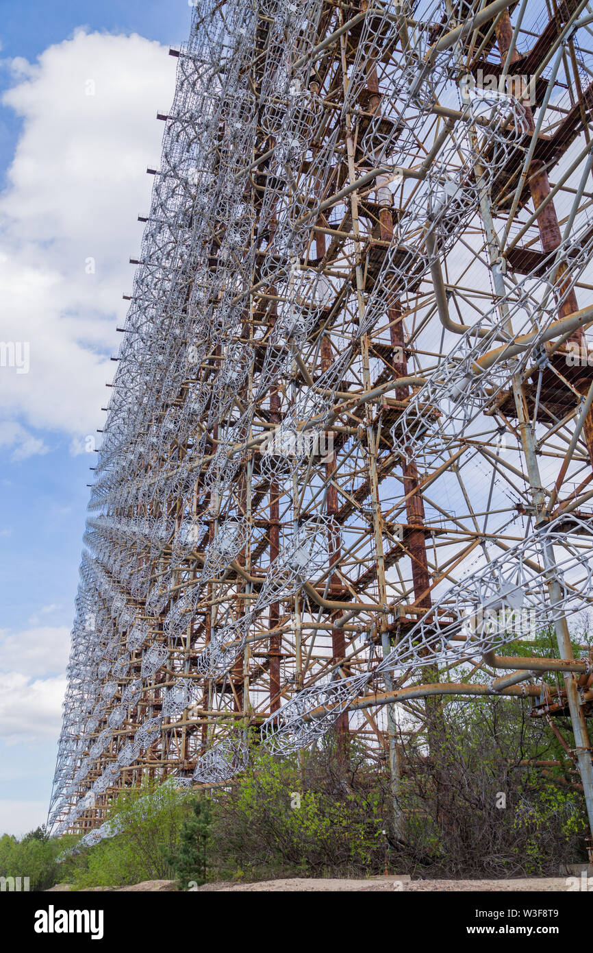 Former military Duga radar system in Chernobyl Exclusion Zone, Ukraine - Stock Image