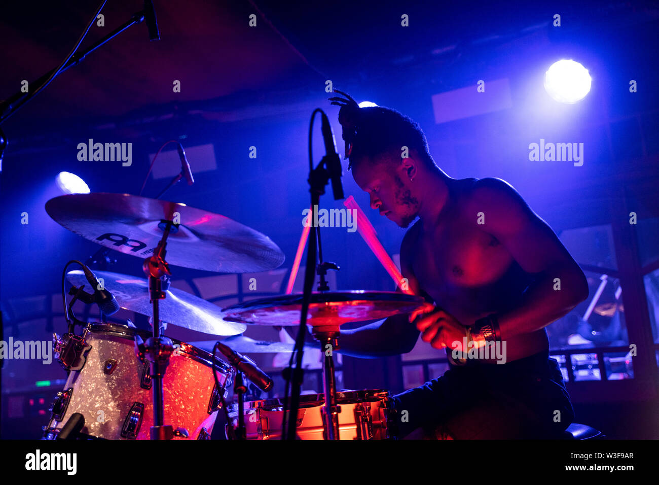 Bergen, Norway - June 15th, 2019. The British band Black Midi performs a live concert during the Norwegian music festival Bergenfest 2019 in Bergen. Here drummer Morgan Simpson is seen live on stage. (Photo credit: Gonzales Photo - Jarle H. Moe). - Stock Image
