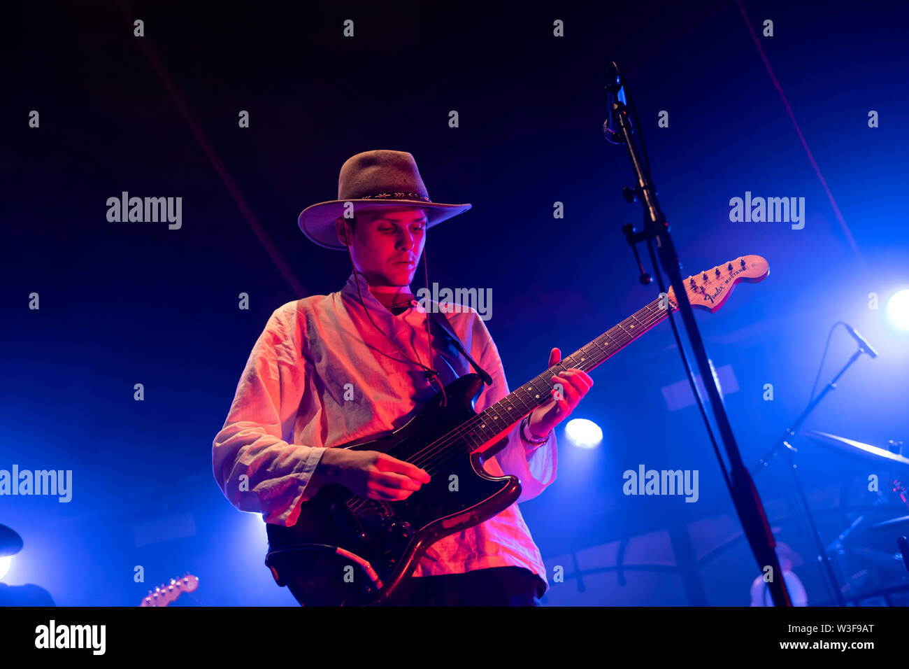 Bergen, Norway - June 15th, 2019. The British band Black Midi performs a live concert during the Norwegian music festival Bergenfest 2019 in Bergen. Here guitarist Matt Kwasniewski-Kelvin is seen live on stage. (Photo credit: Gonzales Photo - Jarle H. Moe). - Stock Image