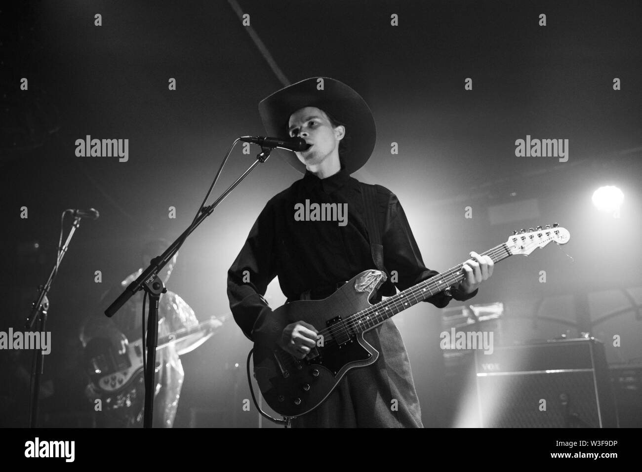 Bergen, Norway - June 15th, 2019. The British band Black Midi performs a live concert during the Norwegian music festival Bergenfest 2019 in Bergen. Here singer and guitarist Geordie Greep is seen live on stage. (Photo credit: Gonzales Photo - Jarle H. Moe). - Stock Image