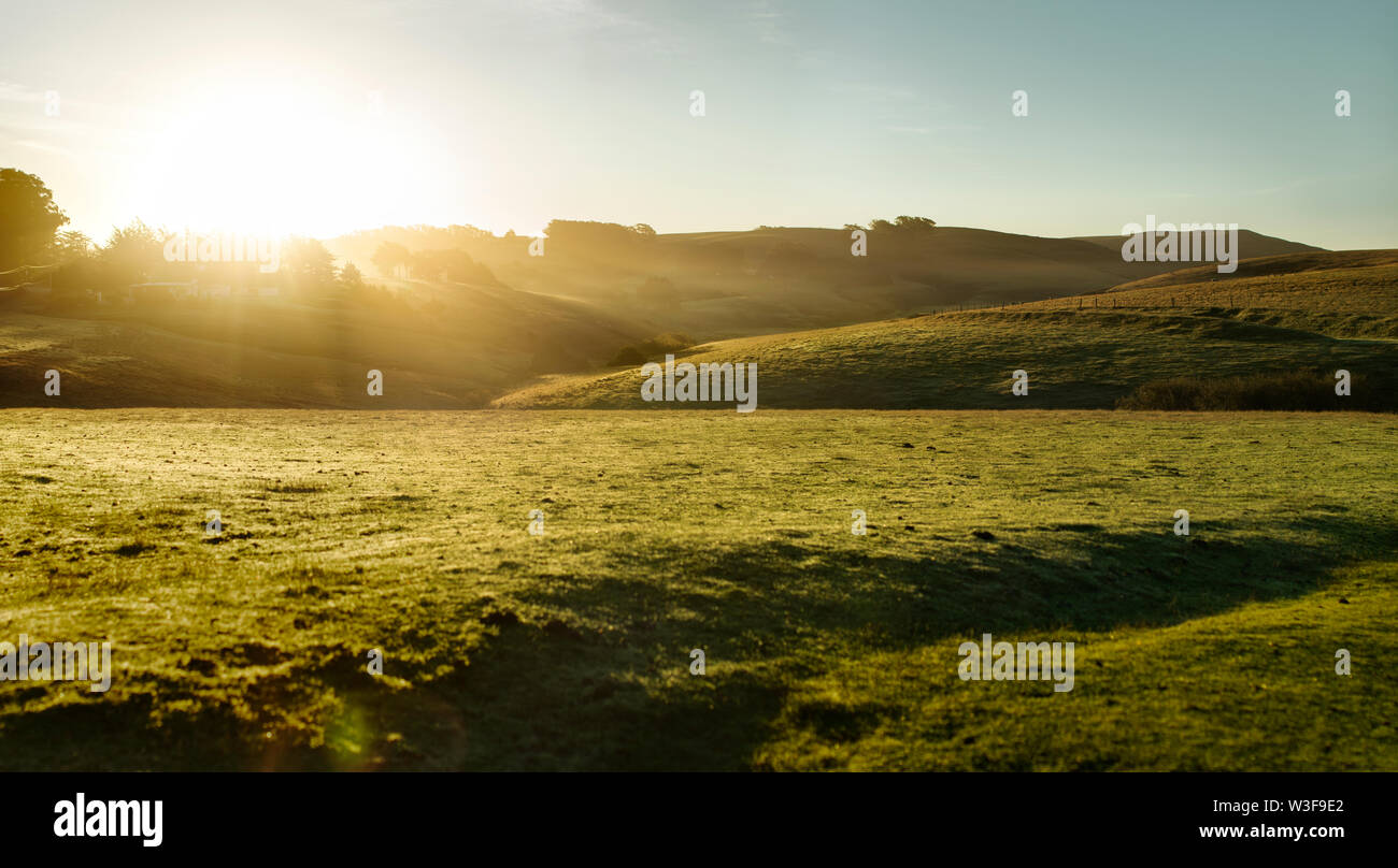 Sun shining over grassy farmland in the countryside. - Stock Image