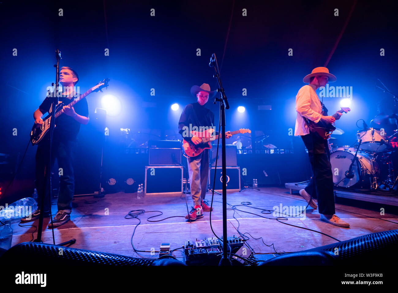 Bergen, Norway - June 15th, 2019. The British band Black Midi performs a live concert during the Norwegian music festival Bergenfest 2019 in Bergen. Here singer and guitarist Geordie Greep is seen live on stage with bass player bass player Cameron Picton (L) and guitarist Matt Kwasniewski-Kelvin (R). (Photo credit: Gonzales Photo - Jarle H. Moe). - Stock Image