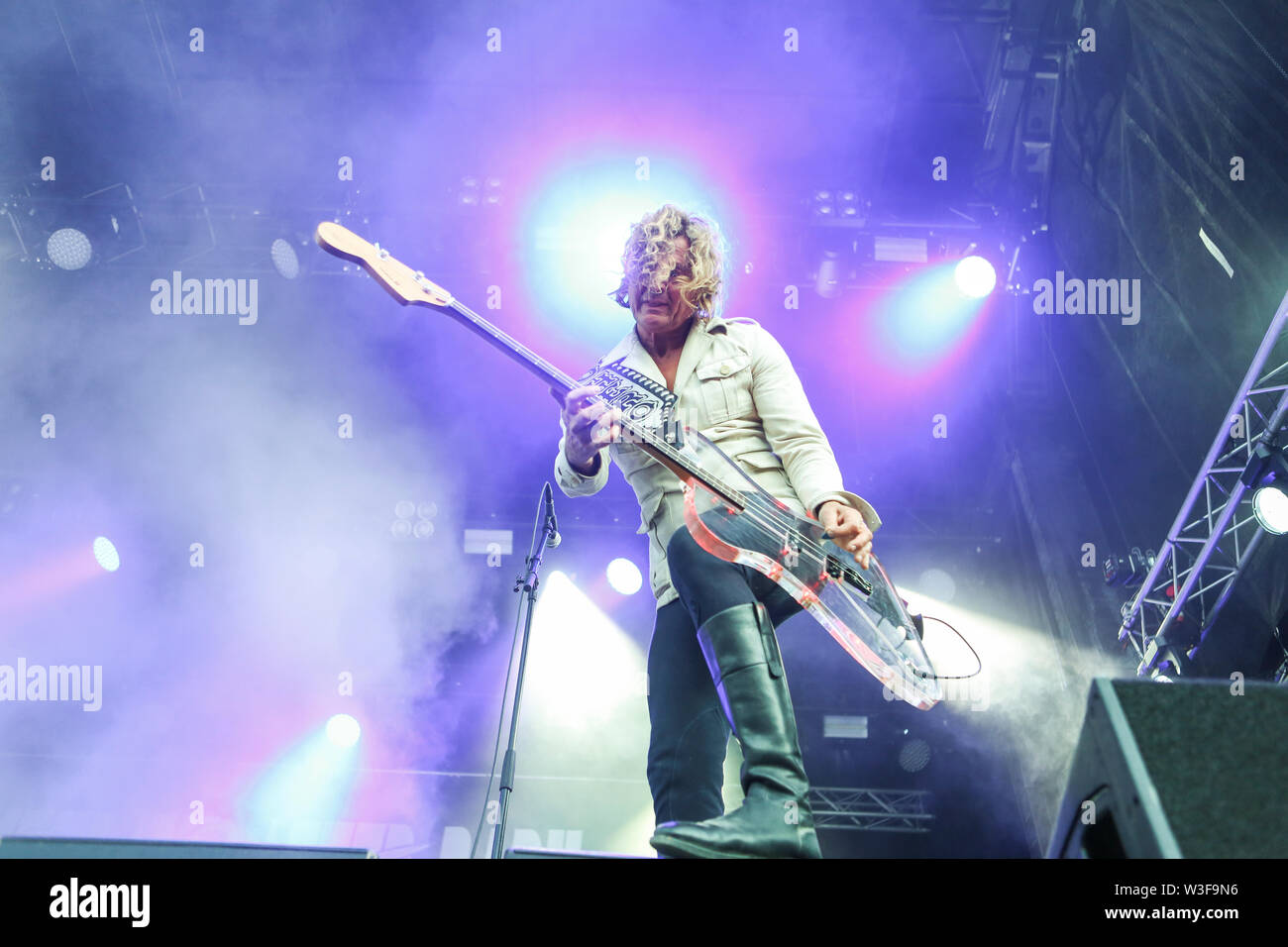 Kvinesdal, Norway - July 11th, 2019. The Danish rock band D-A-D performs a live concert during the Norwegian music festival Norway Rock Festival 2019. Here bass player Stig Pedersen is seen live on stage. (Photo credit: Gonzales Photo - Synne Nilsson). - Stock Image
