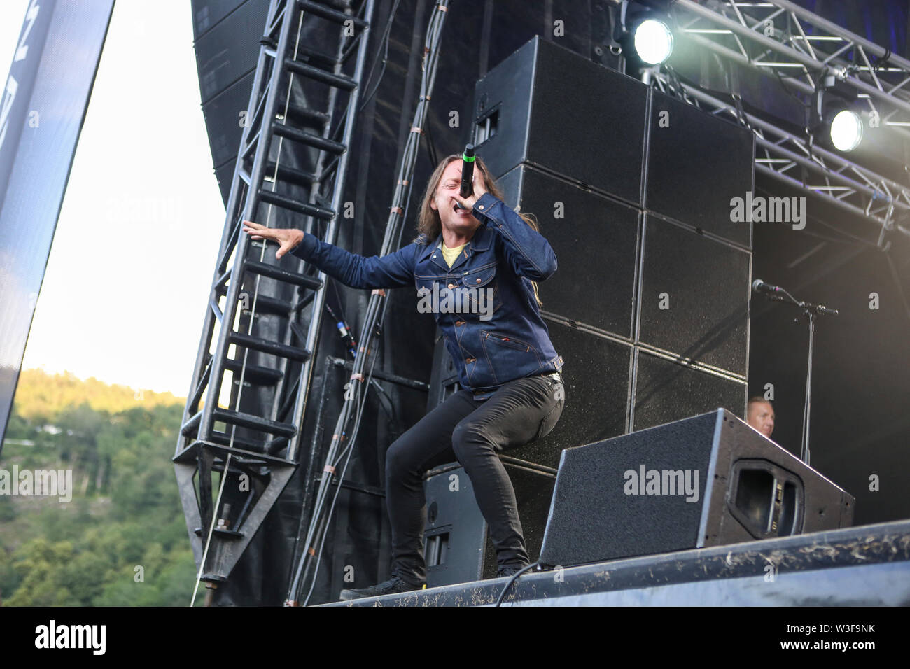 Kvinesdal, Norway - July 11th, 2019. The Danish rock band D-A-D performs a live concert during the Norwegian music festival Norway Rock Festival 2019. Here singer Jesper Binzer is seen live on stage. (Photo credit: Gonzales Photo - Synne Nilsson). - Stock Image
