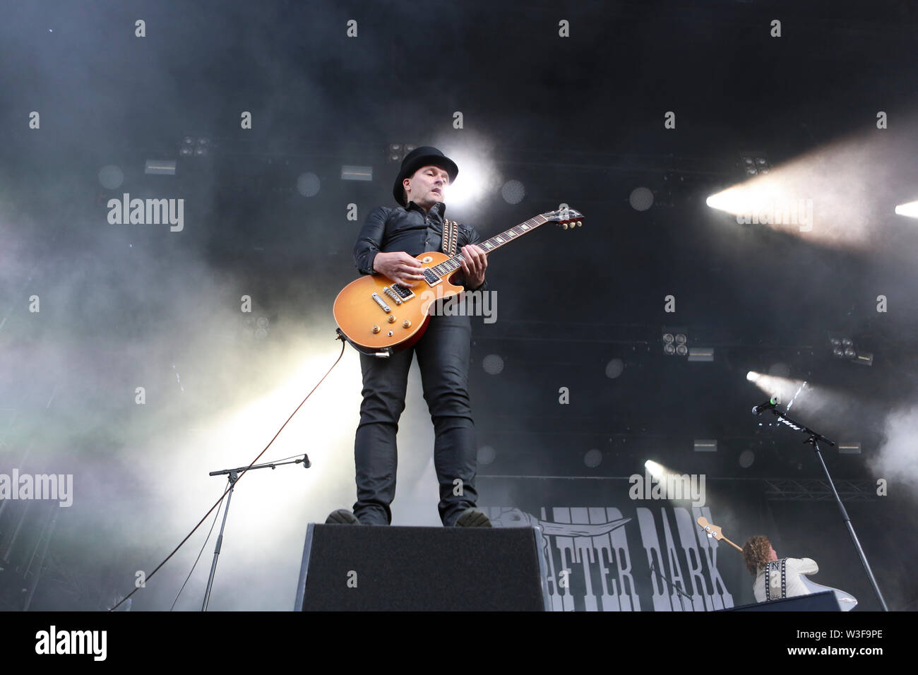Kvinesdal, Norway - July 11th, 2019. The Danish rock band D-A-D performs a live concert during the Norwegian music festival Norway Rock Festival 2019. Here guitarist Jacob Binzer is seen live on stage. (Photo credit: Gonzales Photo - Synne Nilsson). - Stock Image