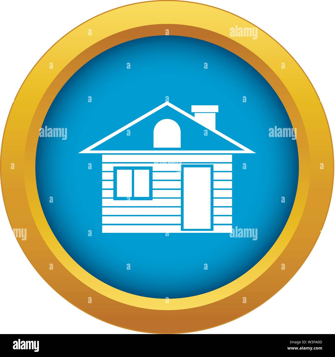 Wooden log house icon blue vector isolated - Stock Image